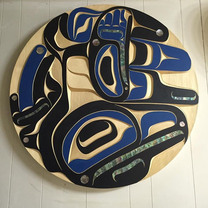 Raven panel. 36 inch. Yellow cedar, abalone. Native art by Moy Sutherland. Www.moysutherland.com