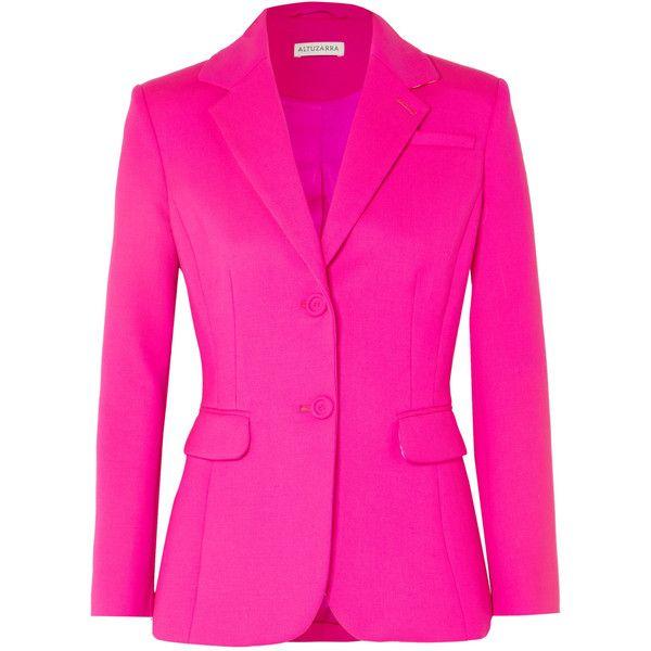 Altuzarra Fenice wool-blend blazer ($1,610) ❤ liked on Polyvore featuring outerwear, jackets, blazers, bright pink, pink blazer, altuzarra blazer, blazer jacket, pink blazer jacket and wool blend jacket