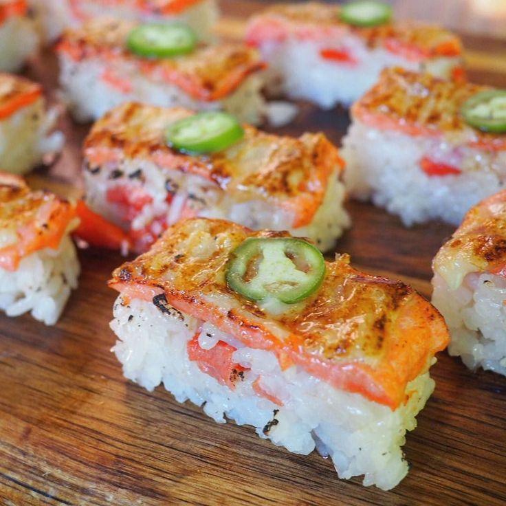 Aburi Salmon Oshi Sushi  from Green Leaf Sushi Cafe @greenleaf_ronnie for my second lunch!  #yvrfood #yvreats #japanesefood #sushi #aburisushi #aburioshisushi #salmonoshisushi #sushilove #mfinyvr