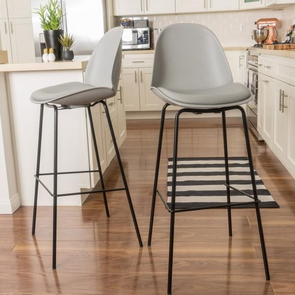 Karald Contemporary Grey 32-Inch Bar Stools (set of 2)