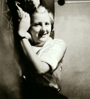 This is Eva Braun in 1935.  Her diary eloquently shows she was lonely and unhappy during the first part of this year. But Hitler gradually atoned for his prior neglect, and she became the closest human being in his orbit. Heady stuff for a naive, young girl such as Eva.