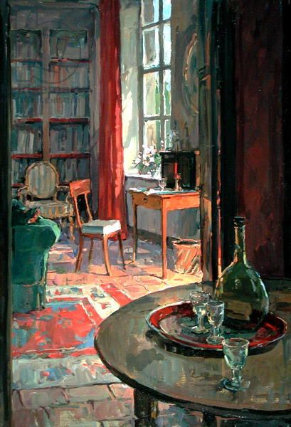 Interior at La Forge, Brittany (oil on canvas), Ryder, Susan (b.1944) / Private Collection / Courtesy of Manya Igel Fine Arts, London / Bridgeman Images