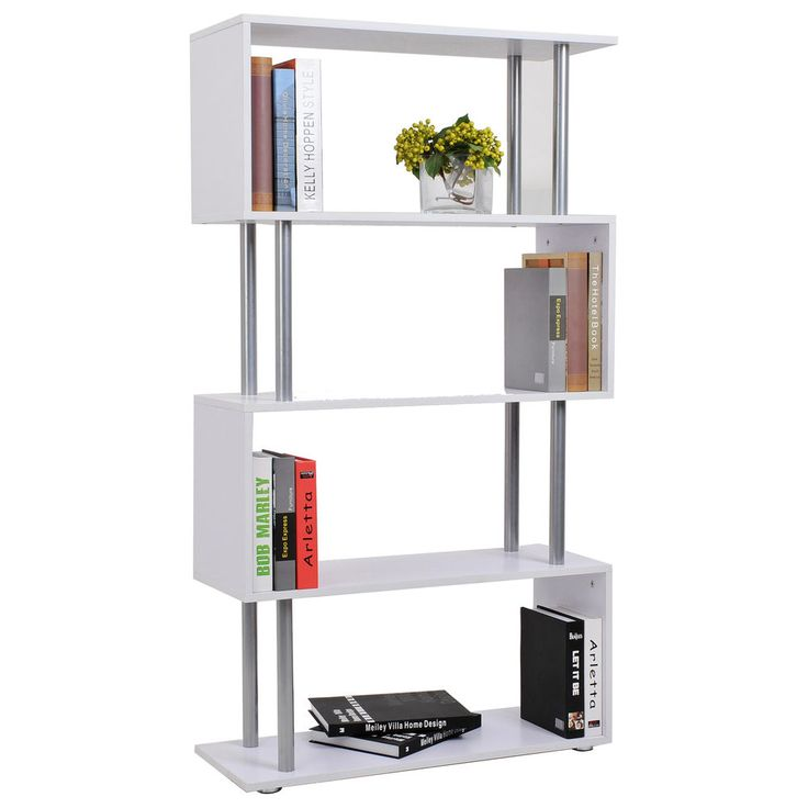 Wooden s shape lounge storage display unit bookcase - Bookshelves as room dividers ...