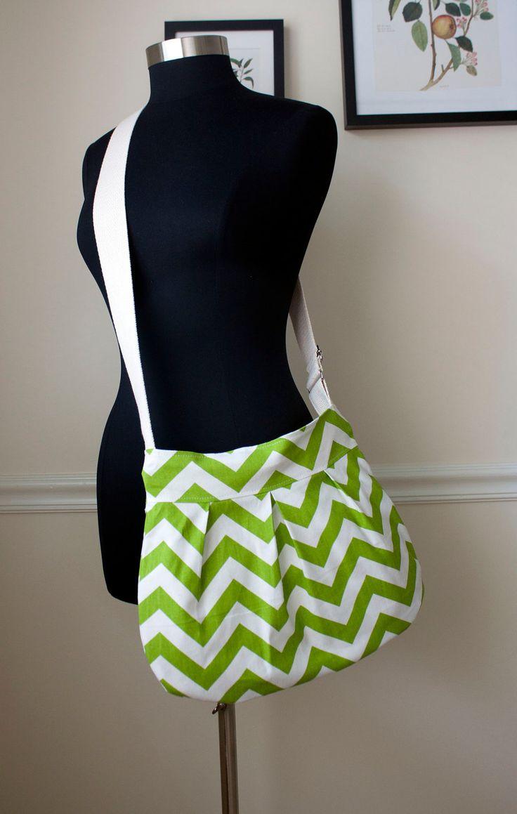 green chevron purse // pleated zipper cross body bag // ipad bag // lime zigzag // made to order // the charlie bag