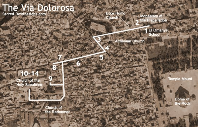 Map of the Via Dolorosa in Jerusalem, detailing all of the stations.
