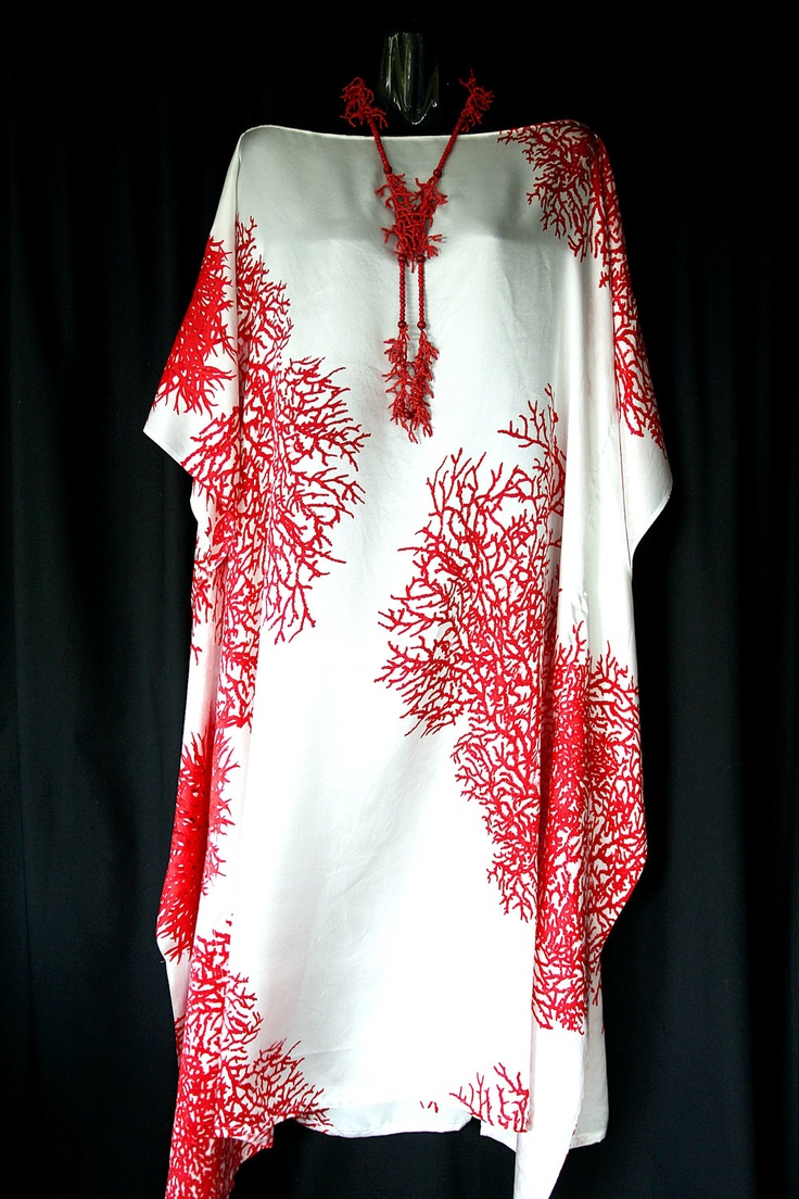 Red Coral Pure Silk Kaftan. $129.00, via Etsy.