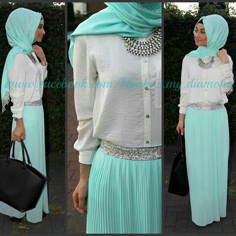mint maxi dress Hijab