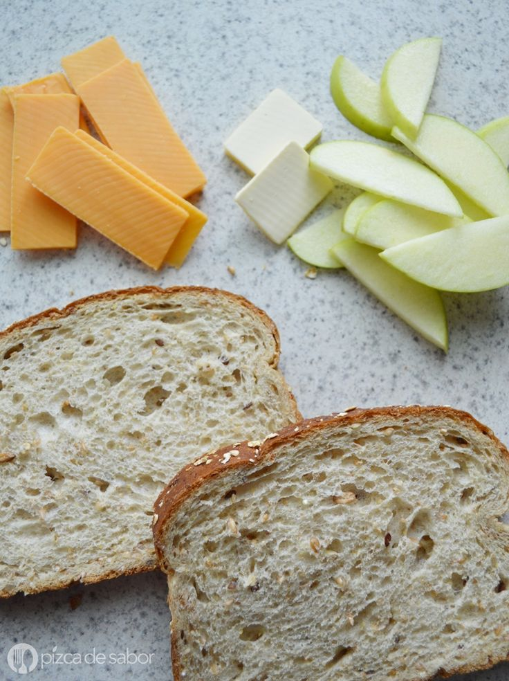Sándwich de manzana con queso cheddar (grilled cheese) www.pizcadesabor.com