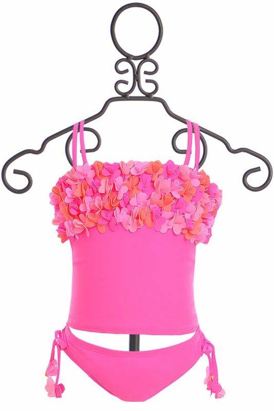 Kate Mack Pink Tankini with Flowers (2T,3T,4,5,8,12)