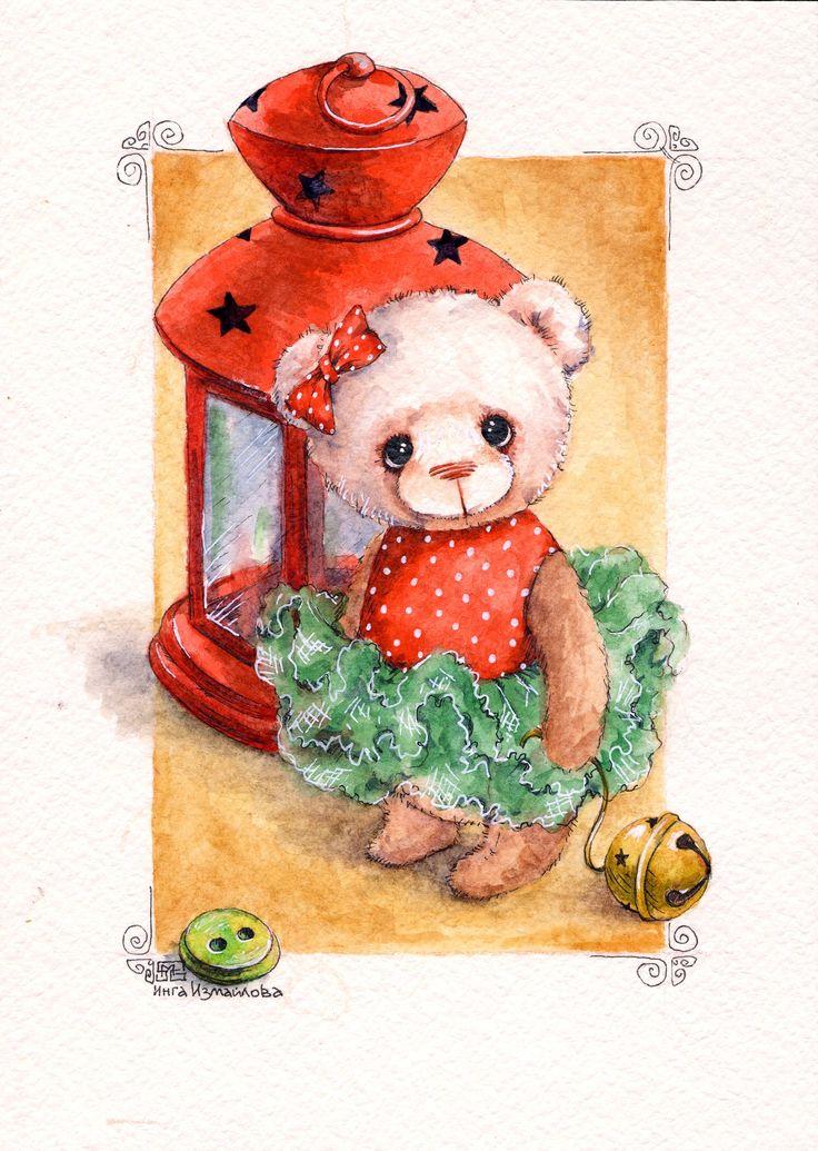 ИНГА ИЗМАЙЛОВА watercolor по мотивам работ Нелли Свительской bears dolls toys watercolor postcards открытки куклы мишки тедди акварель