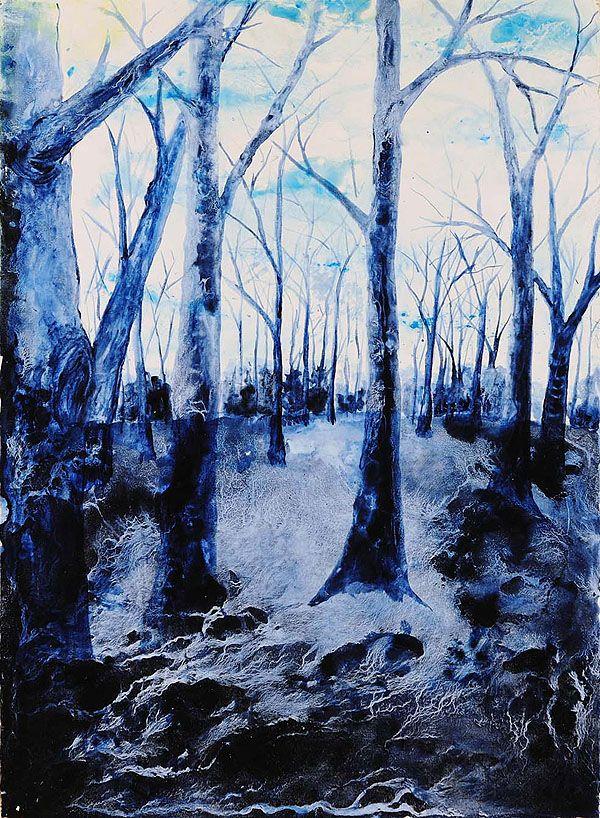 Titel: Bleu forest / Techniek: Tempera grassa