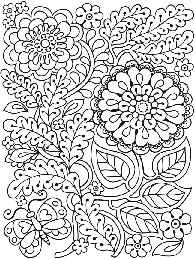 Coloring Pages Dover Publications Spring And Flower T