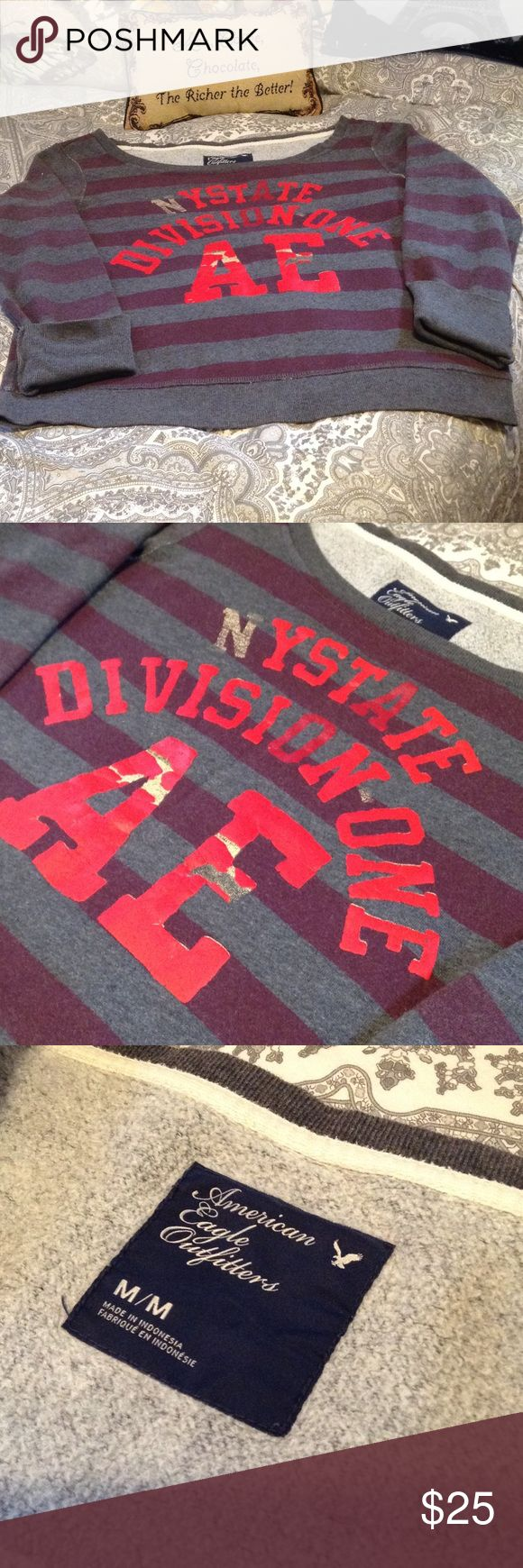 🆕 Gray Striped NYSTATE Sweatshirt ❤️🗽🇺🇸 BRAND NEW! Gray and Burgundy Purple Striped Sweatshirt. NYSTATE DIVISION ONE AE Graphic in Bright Red. Vintage Looking. American Eagle Brand Size Medium American Eagle Outfitters Tops