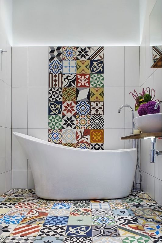 Lovely Tiny Bathroom With Creative Tile Designs
