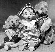 Andy Pandy, Teddy and Louby-Loo. - they all got into a basket at the end of each programme. They were on Watch with Mother.