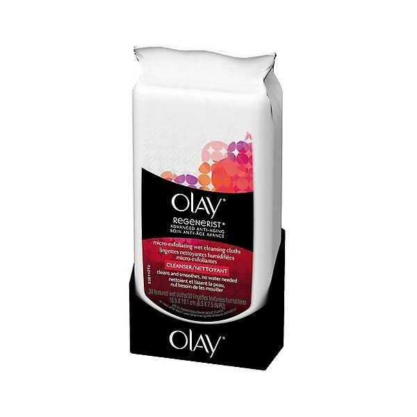 Olay Regenerist Micro-Exfoliating Wet Facial Cleansing Wipes  Count (£4.16) ❤ liked on Polyvore featuring beauty products, skincare, face care, face cleansers, facial cleansing wipes, facial skin care, health and beauty, exfoliating face wash, olay face wash and olay