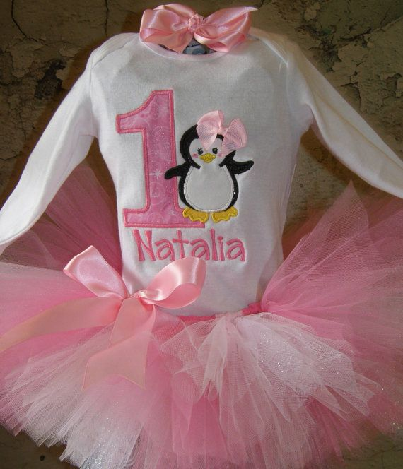 Celebrate your little ones birthday in this adorable tutu outfit. The shirt comes with penguin made with sparkle material and birthday