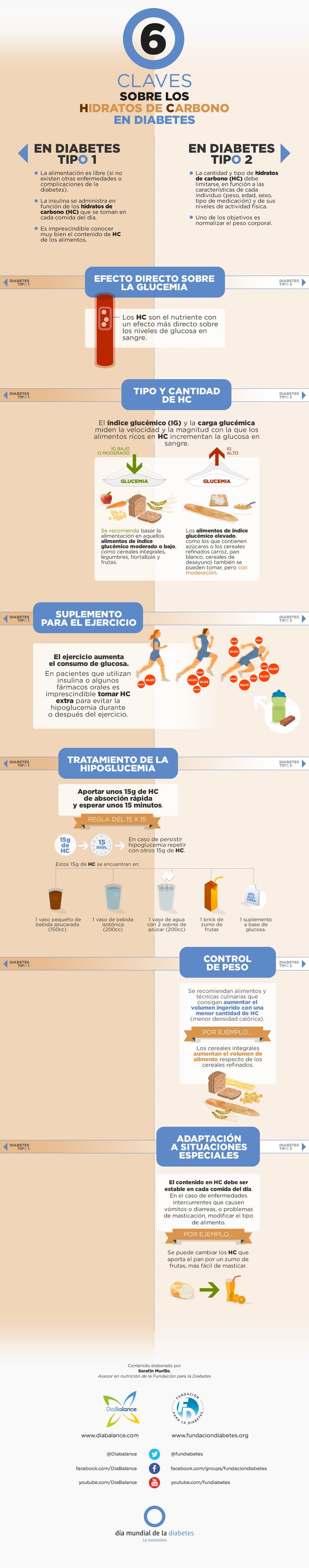 "Infografía ""6 Claves sobre los Hidratos de Carbono en Diabetes"""