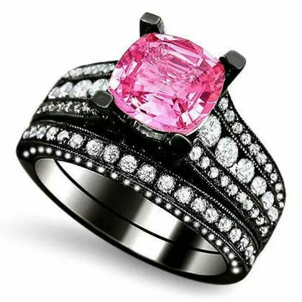pink saphire and diamond black engagement ring - Black And Pink Wedding Rings