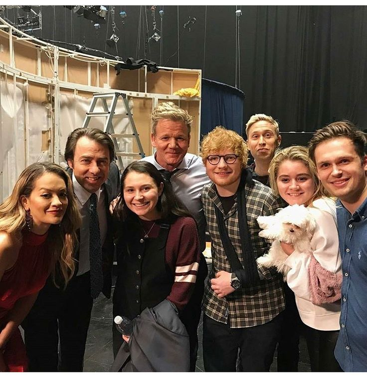 Ed, additional guests and others posing backstage with Jonathan Ross host of The Jonathan Ross Show.