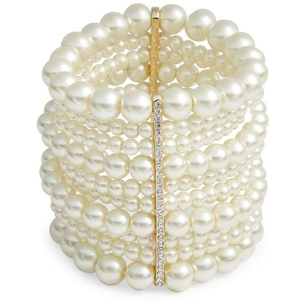 Design Lab Lord & Taylor Faux Pearl Multi-Row Stretch Bracelet ($30) ❤ liked on Polyvore featuring jewelry, bracelets, pearl, artificial jewellery, stretch jewelry, faux pearl jewelry, gold tone jewelry and imitation jewelry