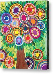 Summer Flowering Tree Of Life Painting by Kerri Ambrosino GALLERY - Summer Flowering Tree Of Life Fine Art Prints and Posters for Sale
