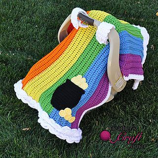 Rainbow Pot of Gold Car Seat Canopy ~ $5.00 pattern ᛡ
