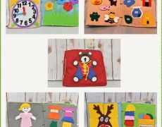 Carti senzoriale din fetru cu activitati pentru copii Quiet book Model 1