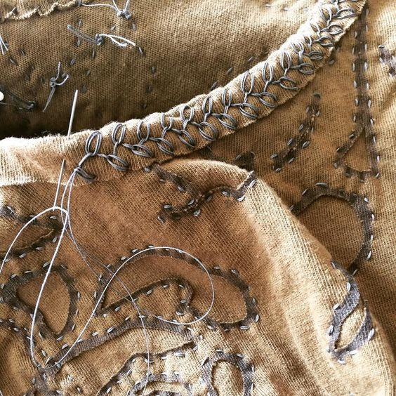 """51 Likes, 8 Comments - Tracey Hogan (@featherstitchavenue) on Instagram: """"Working on an Alabama Chanin dress today. Loving the rosebud stitch!! #handsewing…"""""""