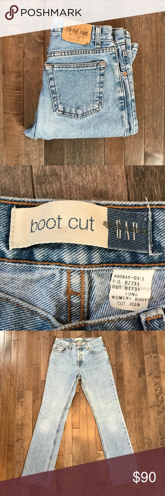 """Vintage GAP mid rise, button fly, jeans!! Cool vintage GAP jeans!! Features a button fly, mid rise, boot cut, light wash, and denim is 💯 cotton made in the USA!! Size listed based on waist measurement. Has a 29"""" waist best fit for a modern jean size 27-29 depending on desired fit.  - review photos carefully  - ask questions prior to purchasing  - no trades  - I do not model  - all sales are final GAP Jeans Boot Cut"""