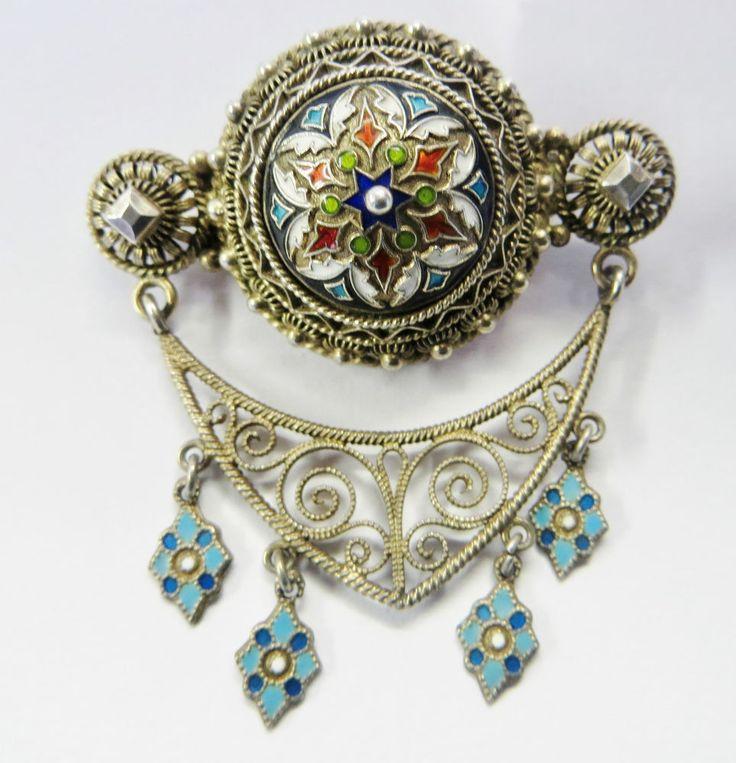 Stunning Art Nouveau Marius Hammer Solje Silver & Enamel Brooch