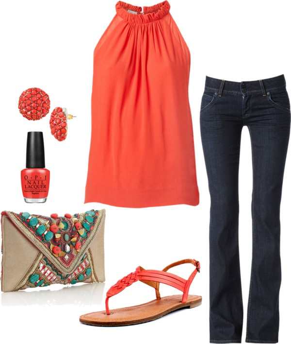"""Summer Date Night"" by honeybee20 on Polyvore    note to self; coral/turquoise..."