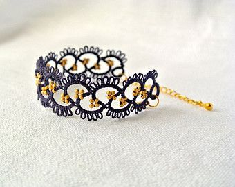 Beaded lace bracelet tatted lace bracelet made in by Ilfilochiaro