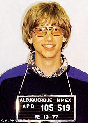 """On April 29th, 1975, at the age of 19, Bill Gates (founder of Microsoft) was arrested by the Albuquerque Police department (arrest record #52090). The charges were speeding and driving without a license. It was the first of three arrests in the late seventies by Albuquerque Police."""