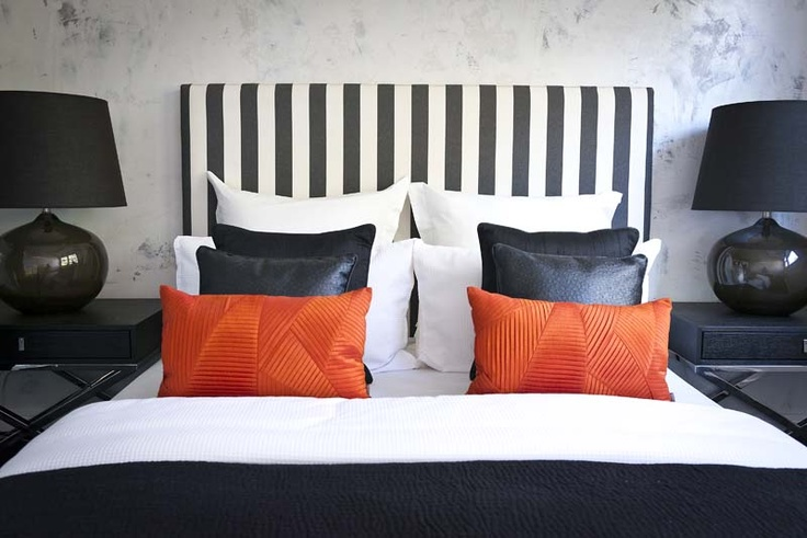 Advantage Property Styling, Stripes, Black & White, Headboard, Bedhead, Orange, Contrast, Glass Lamps, Black Shades, Black & White Linen, Feature Wall, Interior Decoration, Interior Design, Styling