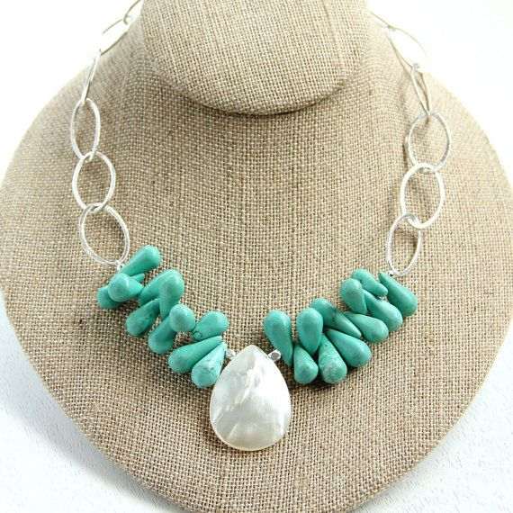 something blue turquoise necklace with shell pendant | $42