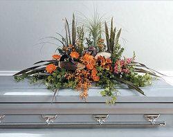 woodsy casket floral arrangements | Funeral Casket Sprays, Casket Pieces