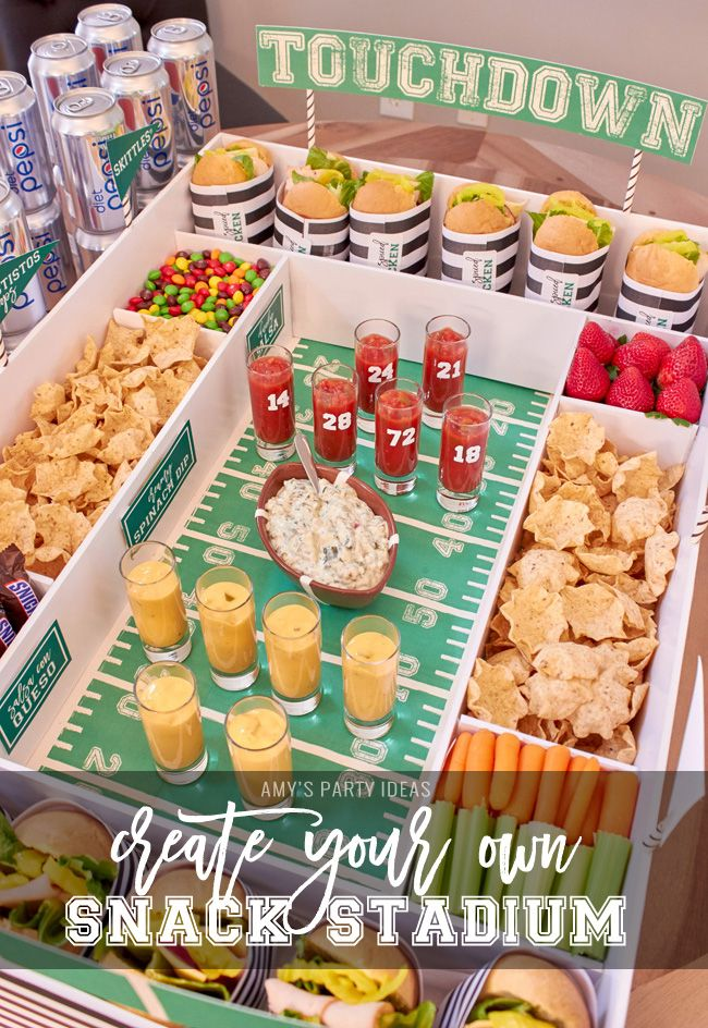 DIY Snack Stadium   Football Big Game   Build your own Snack Stadium with easy tutorial instructions and FREE football game day PRINTABLES   #GameDayGlory #ad