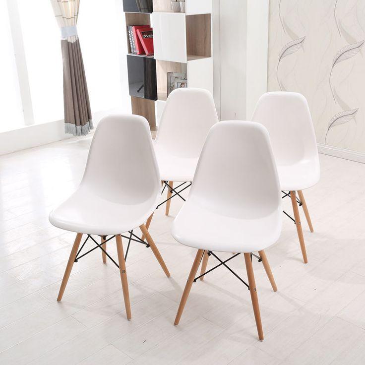 4 Stück Stuhl Wohnzimmerstuhl Esszimmerstuhl Kunststoff Bürostuhl Weiß Chair Set | eBay