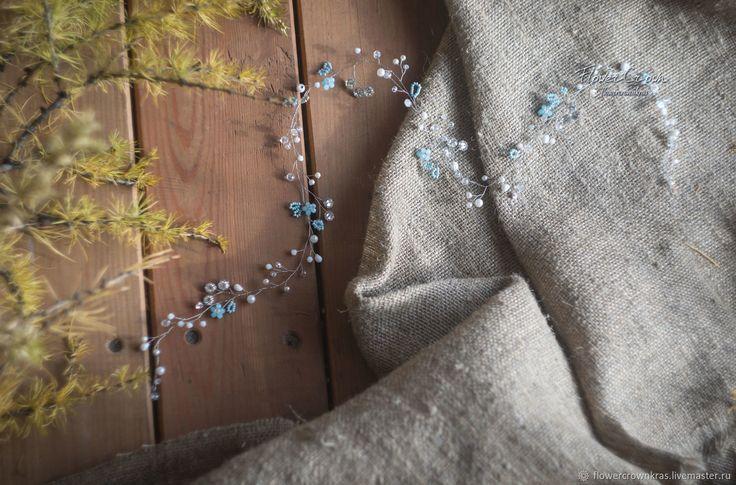 Длинная лоза для невесты в нежном голубом цвете – купить в интернет-магазине на Ярмарке Мастеров с доставкой
