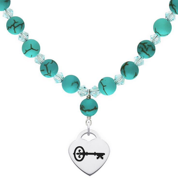 Kappa Kappa Gamma Symbol Turquoise Necklace With Heart Charm
