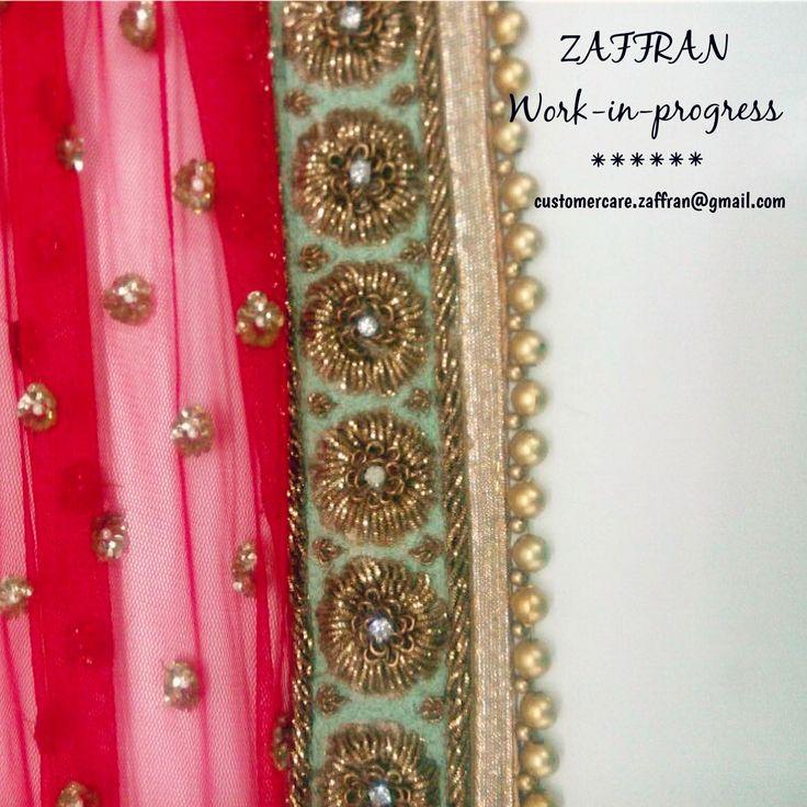 #ZAFFRAN wedding ensemble #lehenga; coral with splashes of mint (Email: customercare.zaffran@gmail.com)