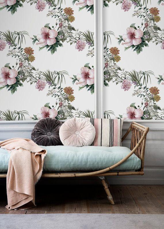 Watercolor HIBISCUS flower wallpaper   Removable wallpaper   Peel and stick   Floral print   Self adhesive wallpaper   #3