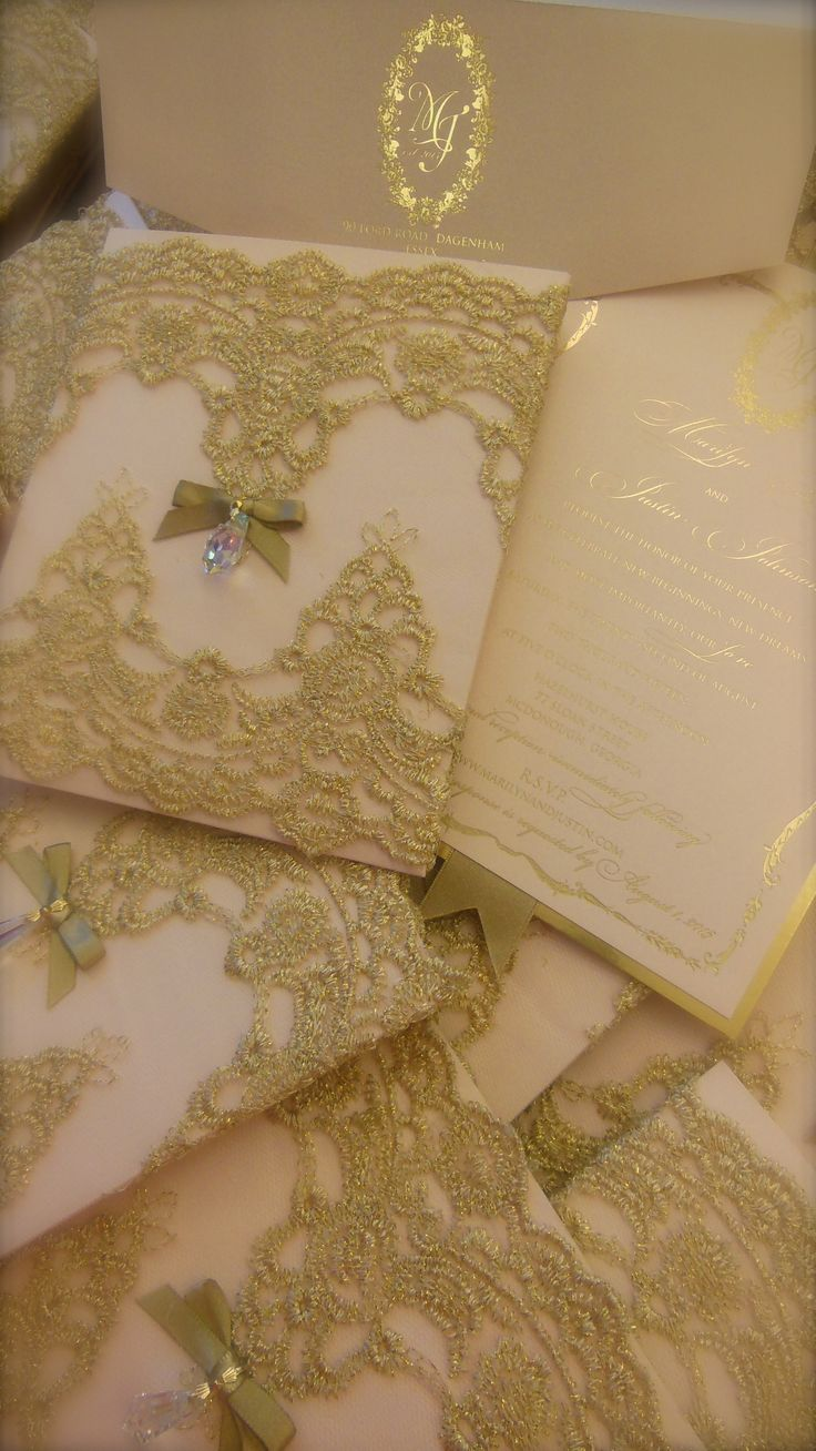 """""""Gilded"""" blush and gold lace -  foil stamped invitation with hanging crystal - oh so elegant! xo embellishments"""