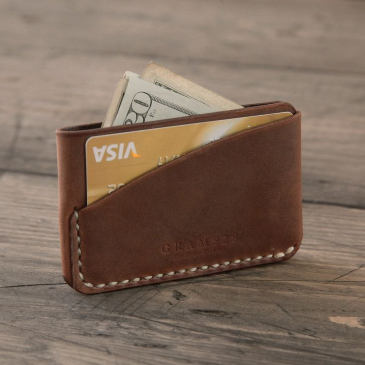 items similar to three pockets leather card holder hand stitched leather wallet brown on etsy - Leather Card Holder Wallet