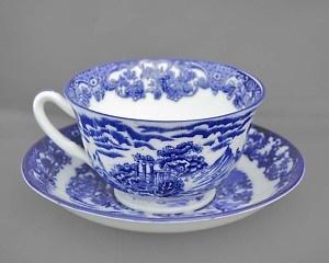 phoenix ware vintage cup & saucer florentine c1912-25: Ware Sets, Vintage Teacups, Ware Vintage, Vintage Cups, Vintage Glasses, Gvs Vintage, Saucer Florentine, Phoenix Ware, Blue Vintage