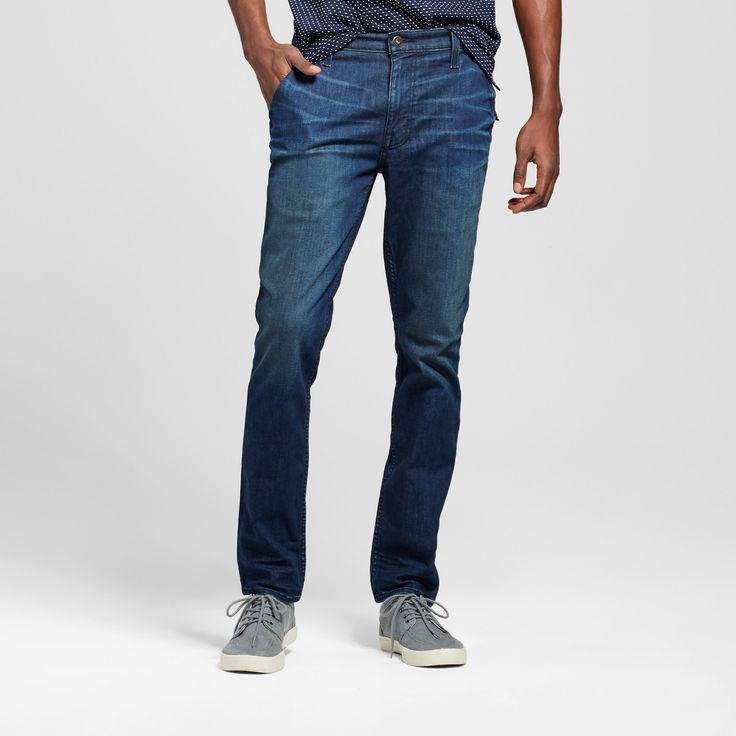 Men's Skinny Fit Jeans - Mossimo Supply Co. Dark Wash 33x34, Blue
