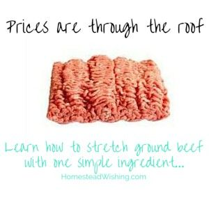 Use one simple ingredient for stretching ground beef. It is simple cheap, and a great way to stretch your dollar. Meat prices are only going to get worse.