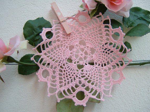 Doily For Crochet Favor Box Center Door Confetti In Pink