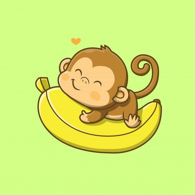 Cute Monkey Holding Big Banana Illustration Monkey Illustration Cartoon Monkey Cute Cartoon Drawings Cute baby monkey cartoon wallpaper